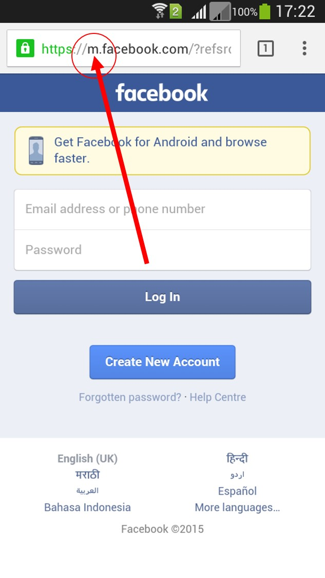 facebook mobile desktop site login